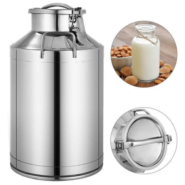 40L Stainless Steel Milk Can Wine Pail Boiler Tote Jug Lid 10.5 Gallon
