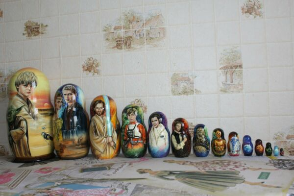 Unique museum quality 15 in 1 Nesting Dolls Russian Matryoshka STAR WARS