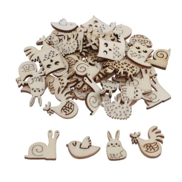 50x Natural Unfinished Wood Wooden Laser Cuts Embellishments DIY Crafts