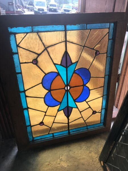 SG 3008 antique stained glass jeweled landing window 30 x 36