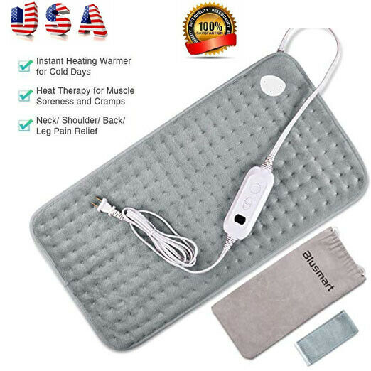 Electric Heating Pad L Size Back Pain Relief Dry Moist Neck 6 Heat Settings