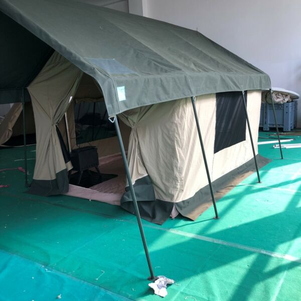 Waterproof Canvas Safari Glamping Camping Wall Bell Tent W Chimney Vent Awning