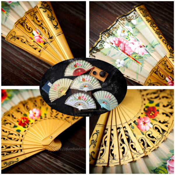 Woman Folding Hand Held Spanish Style Flower Fan Wood Fan Dancing Fan $24.46