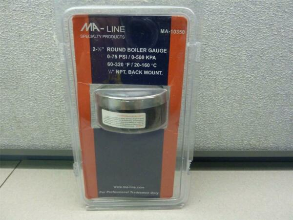 MA LINE Products MA 10350 2 1 2quot; ROUND BOILER GAUGE 0 75PSI 60 320F 21524 $29.99