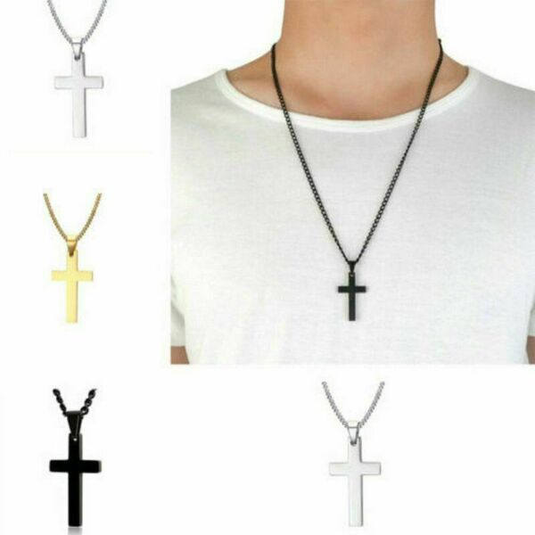 Cross Pendant Necklace Stainless Steel Unisex Crucifix Men Women With Chain GHI