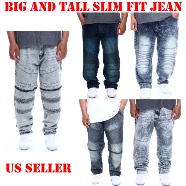 ROCAWEAR MEN BIG AND TALL DENIM JEAN SLIM STRETCH FIT RIPPED WASH  PANTS BIKER