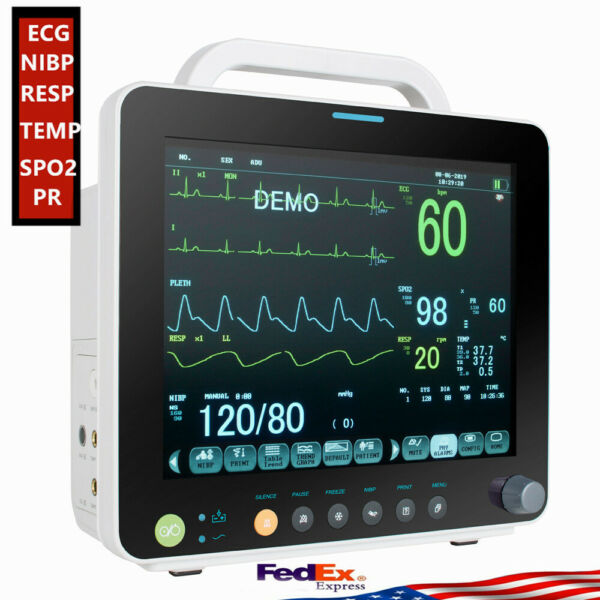 "12""ICU Vital Signs Patient Monitor ECGRESPNIBPSPO2TEMPPR+Storage case+ SPO2"
