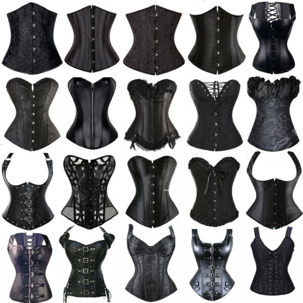 WOMEN BLACK PUNK BONED WAIST CINCHER CORSET TOP OVERBUST LACE UP BUSTIER SHAPER