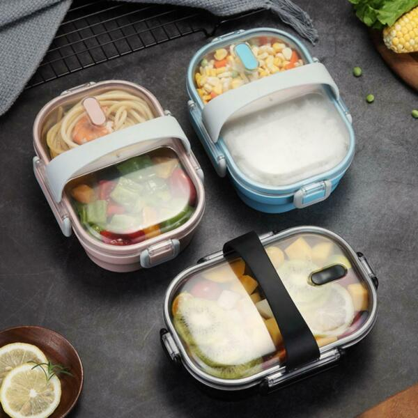 Portable Lunch Box For Kids 304 Stainless Steel Rice Bento Box Kitchen Leakproof