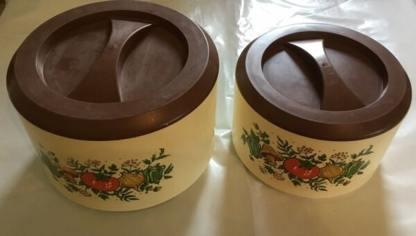 Vintage STERILITE Tablemates Container Canister Vegetable Design Set Of 2