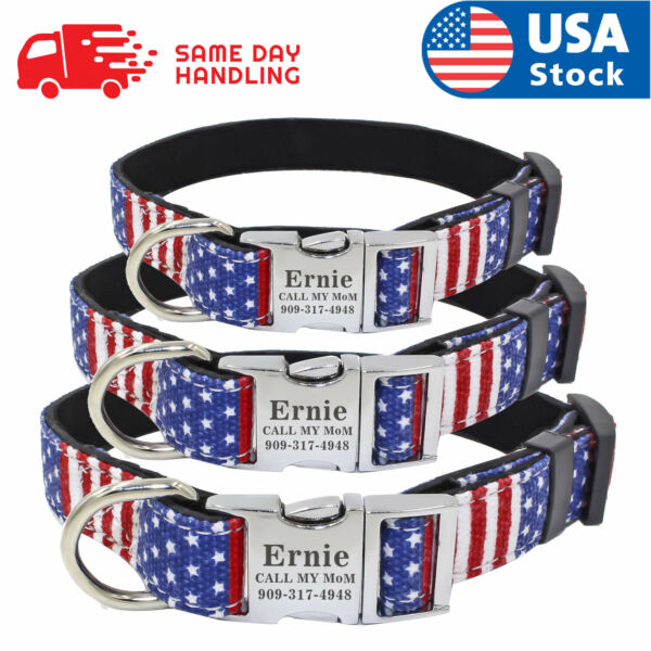 Custom USA Flag Dog Collar with personalized dog name plate tag ID $11.98