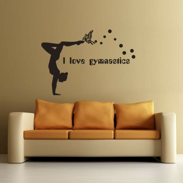 Girl I love Gymnastics Wall Sticker Home Decal Bedroom Decor Dancing Supplies