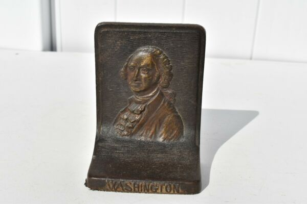 SINGLE ANTIQUE HEAVY CAST IRON  FIRST PRESIDENT GEORGE WASHINGTON BOOKEND