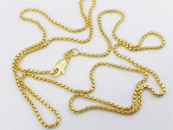 14K Yellow Gold Round Box Link Necklace Pendant Chain 20quot; 1.35mm 14K Gold $159.99