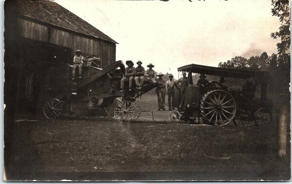 RPPC PA Mount Pleasant Steam Traction Engine Thresher Real Photo Postcard