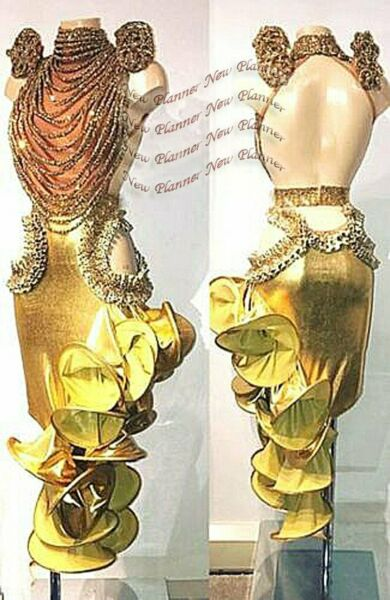 L1950 ballroom Rhythm salsa Latin samba swing dance dress UK12 US 10 gold