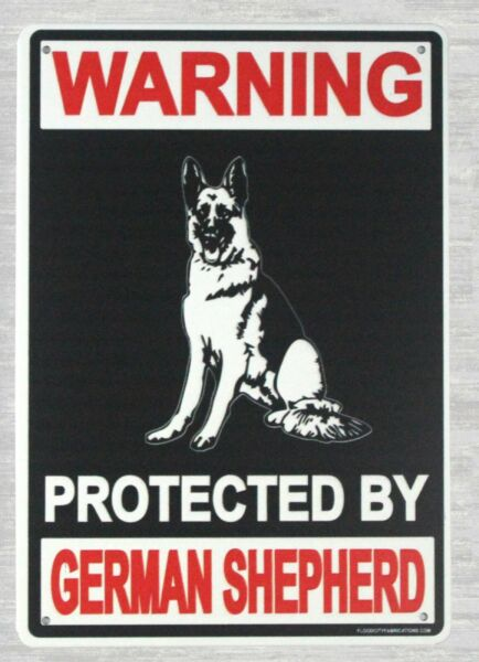 collectible tin signs Warning protected by German Shepherd tin sign