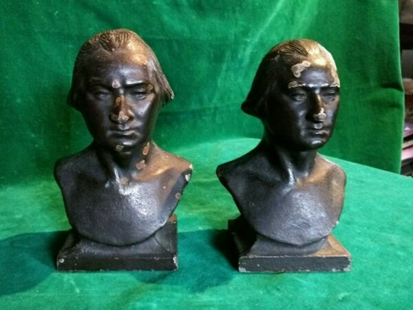 Antique George Washington Bookends Cast Iron w Bronze Overlay Set of 2