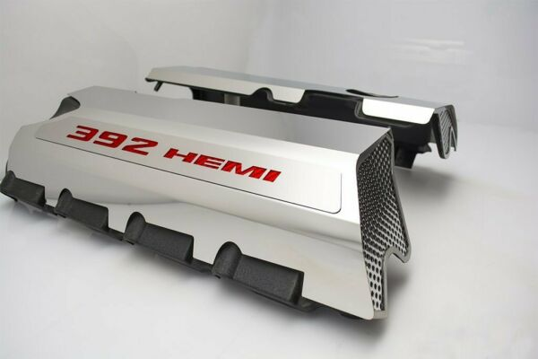 Polished Fuel Rail Covers W/ Red Carbon Fiber for 2015-2020 6.4 392 Engines