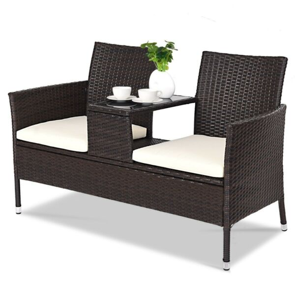 2 Seater Rattan Wicker Chair Patio Garden Outdoor Furniture Love Seat With Table