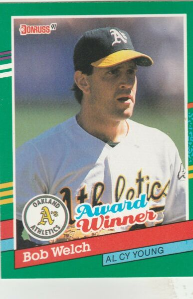 FREE SHIPPING-MINT-1991 Donruss Oakland Athletics #727 Bob Welch CY