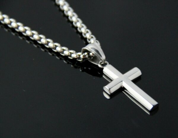 20 30quot; Men Silver Stainless Steel Small Plain Cross Pendent Box Chain Necklace