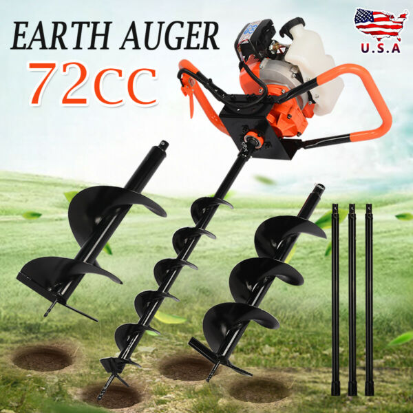 72cc Power Engine 4HP Gas Powered One Man Post Hole Digger 4