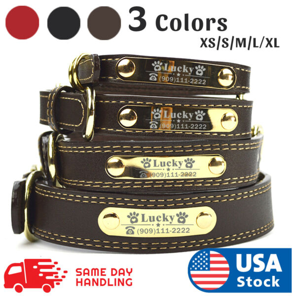PU Personalized Dog Collars Name ID Collar with Name plate XS XL Engraved $11.98