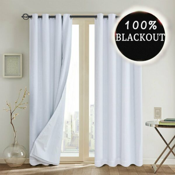 WHITE BLACKOUT CURTAIN THERMAL INSULATED LINER GROMMET BURLAP PRIMITIVE LINEN