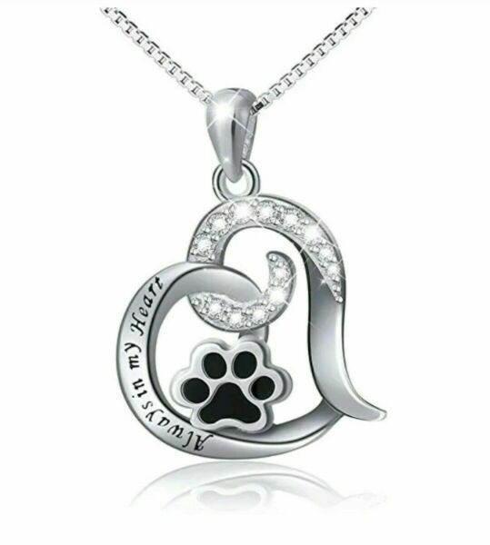 Best Dog Paw Necklace Women Memorial Love Always In My Heart Engraved SILVER AE $6.98