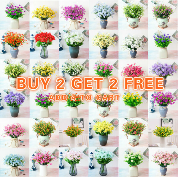 US Artificial Flowers Fake Plant Outdoor Floral Greenery Grass BUY 2 GET 2 FREE $4.99