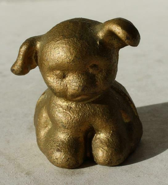 Fido Pup Figurine Cast Iron Paperweight Gold Color Pup Unmarked Miniature Pup