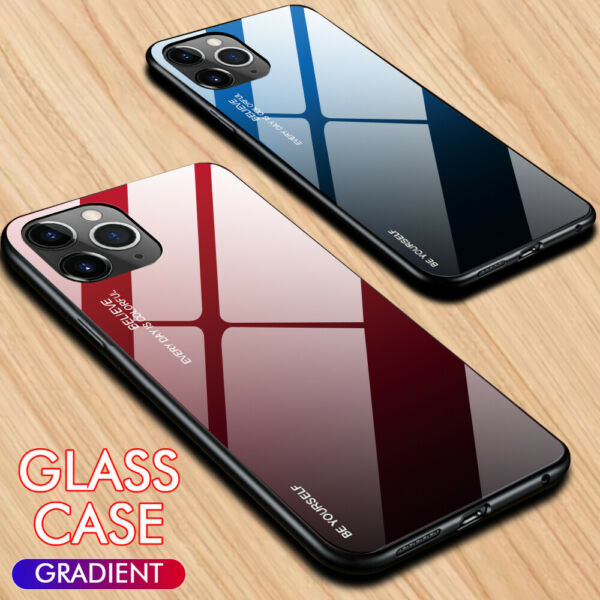 Luxury Slim Hybrid Case Gradient Back Glass Cover For iPhone 12 Pro Max XR 8 7 6 $8.09