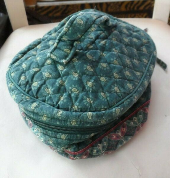 Vera Bradley Home and away round cosmetic bag in retired Classic Green pattern