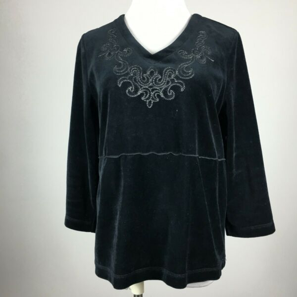 Hot Cotton S Small Knit Top Velour Black 34 Sleeve V Neck Embellished Stretch