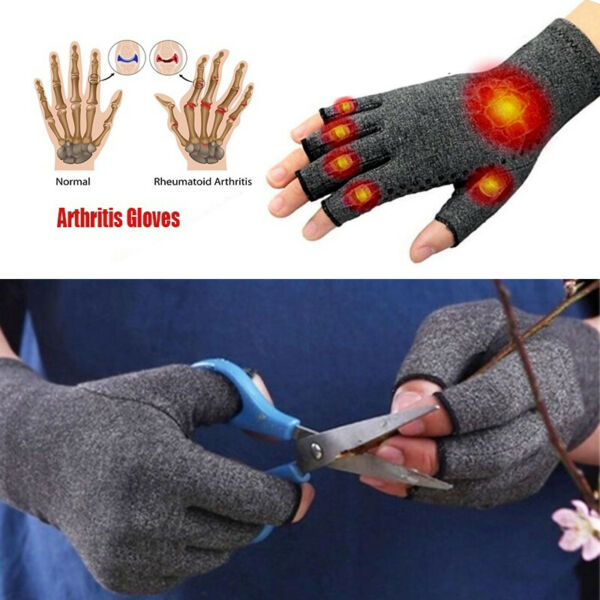 Arthritis Gloves Fingerless Medical Support Therapeutic Copper Fit Compression