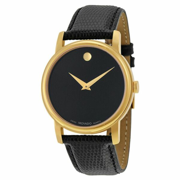 ✅ MOVADO Museum 2100005 Gold Classic Black Dial Leather Wrist Watch Men's !!!