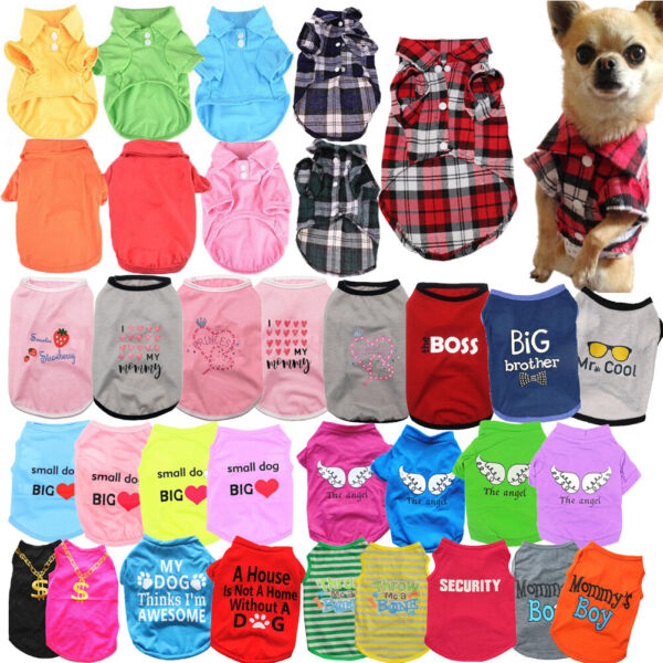 Pet Dog Clothes Puppy T Shirt Clothing For Small Dogs Puppy Chihuahua Vest Plaid $2.94