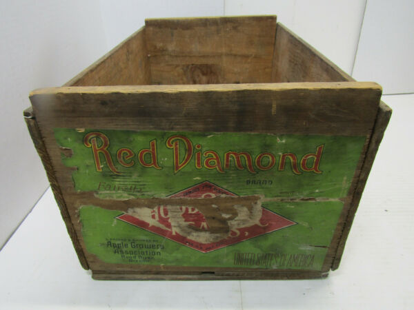 OLD WOOD-WOODEN RED DIAMOND PEAR COMICE BOSC D'ANJOU CRATE BOX SOLID PRODUCE