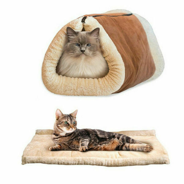 2 in 1 Pet Cat House Sleeping Bed Kennel Puppy Cave Super Soft Mat Pad Warm Nest $11.99