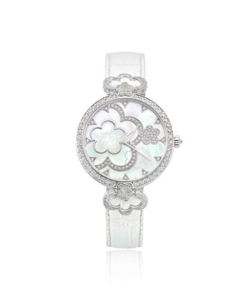925 Sterling Silver womens wrist watch simulated diamond round Flower white belt