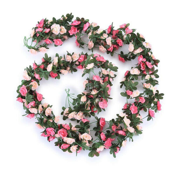 Pink Rose Garland Artificial Rose Vine Flowers Hanging Floral Home Party Decor