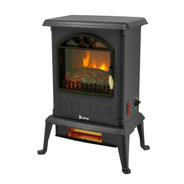 1500W Electric Fireplace Space Heater Fire Flame Stove Temperature Adjustable