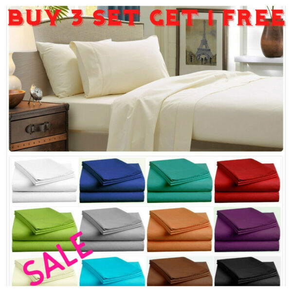 Fitted Bed Sets Flat Sheets 1900 Series 14 Deep Pocket Wrinkle Free Pillow Cases