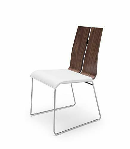 Set Of 2 Dining Chair. Natural Walnut Veneer White Faux Leather. Metal Frame ...