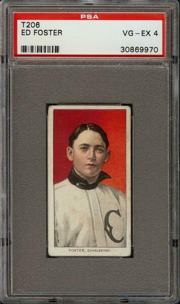 Rare 1909-11 T206 Ed Foster Old Mill Southern League Charleston PSA 4 VG - EX