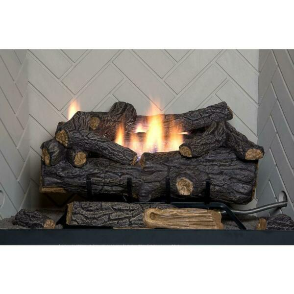 Vent-Free Natural Gas Fireplace Logs Remote 24 in. Energy Efficient Savannah Oak