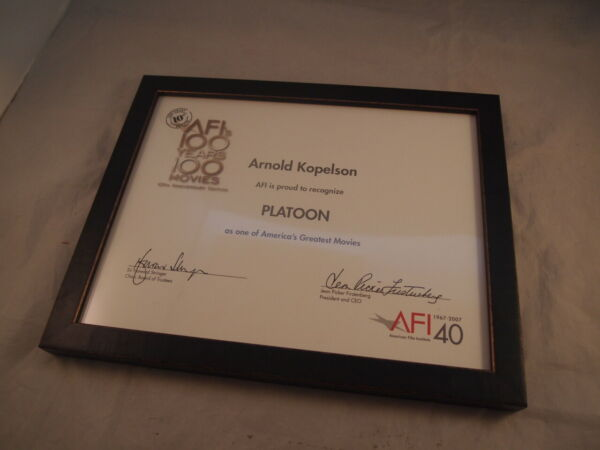 Platoon AFI 100 Years 100 Movies 10th Anniversary Framed Certificate Producer