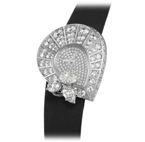 925 Sterling Silver Wrist Watch Women Leaf Pear White Round Stud Black Strap Box