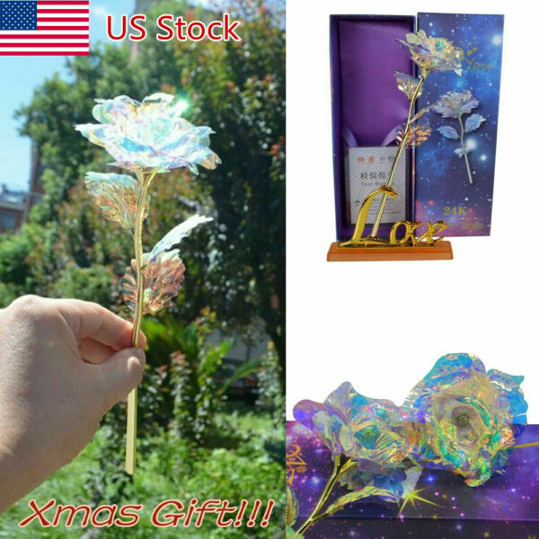 Galaxy Rose Flower Valentine's Day Xmas Gift Romantic Crystal Rose With Box HOT